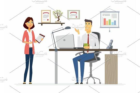 Office Scene Modern Vector Cartoon Business Characters Illustration