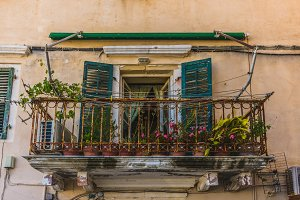 Old balcony with flowers