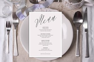 Plate & Ribbon Table Mockup. PSD