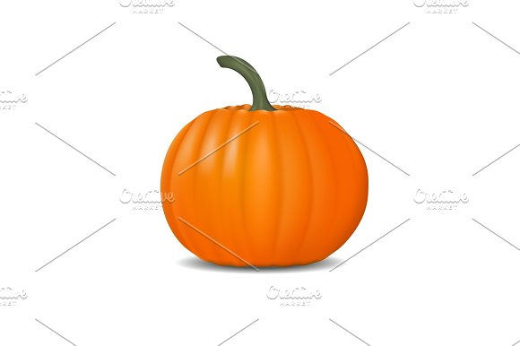 Pumpkin Realistic Illustration Fresh And Orange Vegetable