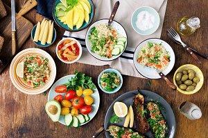 Set of healthy vegetarian food