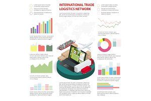 Business Infographics Global Logistics Network Vector illustration Can be used for workflow layout, banner, diagram, number options, step up options, web design.