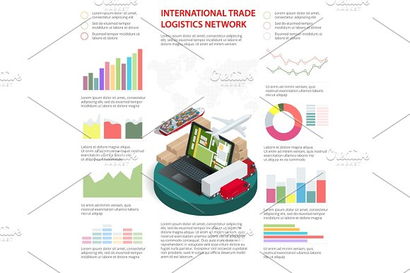Business Infographics Global Logistics Network Vector Illustration Can Be Used For Workflow Layout Banner Diagram Number Options Step Up Options Web Design