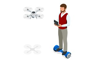 Isometric man with drone quadrocopter, Remote aerial drone with a camera taking photography or video recording. game sevremennaya, isometrics businessman on a Gyroscooter. Vector illustration