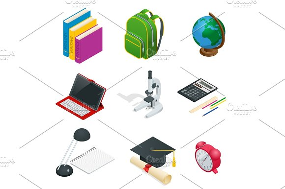 Isometric Educational Concept Open Book Of Knowledge Back To School Different Educational Supplies Can Be Used For Workflow Layout Banner Diagram Number Options Web Design And Infographics