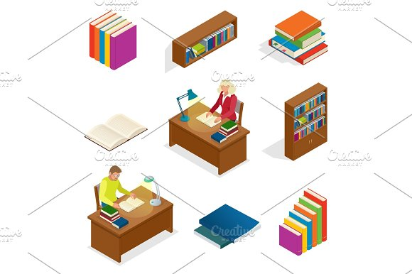Isometric Educational Concept Library Elements Bookcase Bookshelf The Man Is Reading A Book At The Table Used For Workflow Layout Banner Diagram Number Options Web Design And Infographics