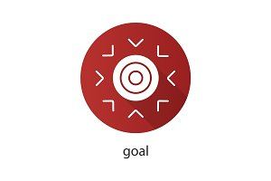 Goal symbol flat design long shadow glyph icon