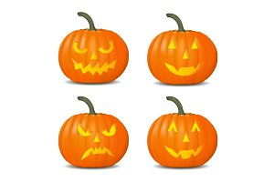 Set of pumpkins for Halloween.