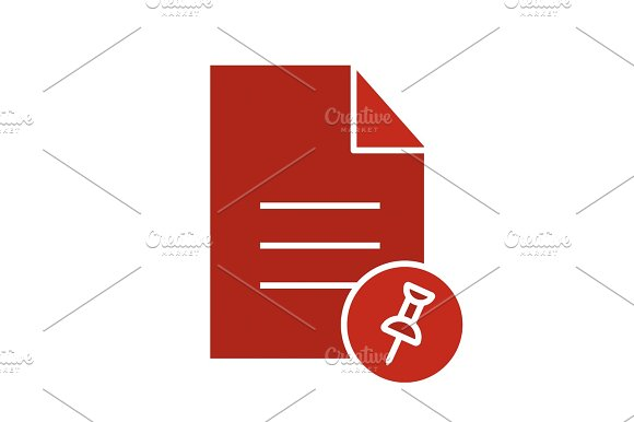Pin Document Glyph Color Icon