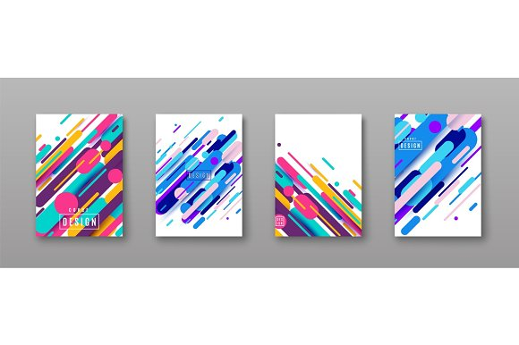 Vector Illustration Of Cover Poster Pattern Template Set With Dynamic Shapes