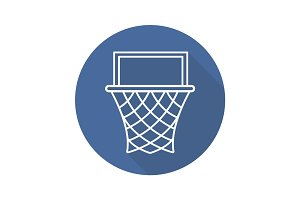Basketball hoop flat linear long shadow icon