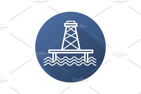 Offshore Sea Well Flat Linear Long Shadow Icon