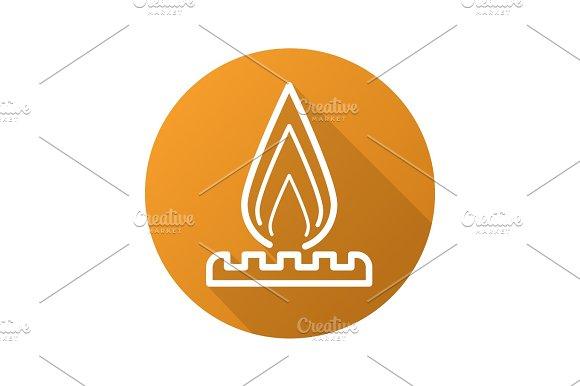 Gas Burner Flat Linear Long Shadow Icon