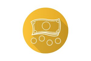 Money flat linear long shadow icon