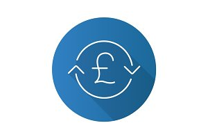 Great Britain pound exchange. Flat linear long shadow icon