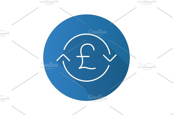Great Britain Pound Exchange Flat Linear Long Shadow Icon