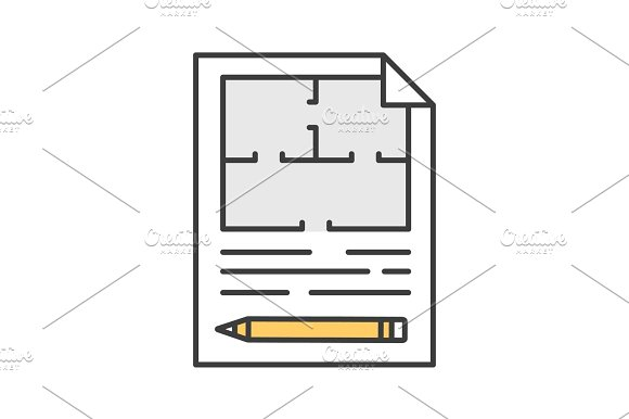 Floor Plan Flat Blueprint With Pencil Color Icon