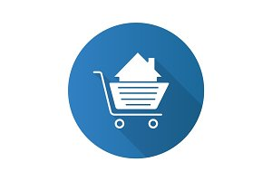 Shopping cart with house inside. Flat design long shadow glyph i