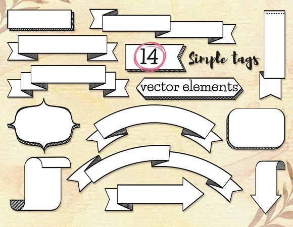 Simple Tags 14 Vector Elements