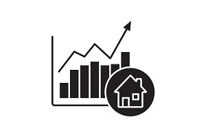 Real estate market growth chart glyph icon