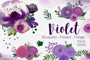 Watercolor Flowers - Violet