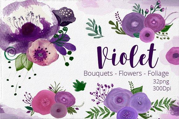 Watercolor Flowers Violet