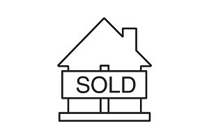 Sold house linear icon