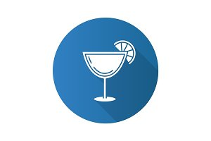 Margarita cocktail flat design long shadow glyph icon
