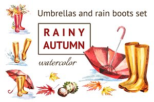Rainy autumn. Umbrellas, rain boots