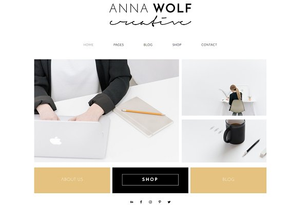 WordPress Minimal Themes: Kelly Brito - Anna Wolf - Wordpress Theme