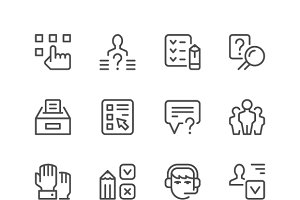 Set line icons of survey