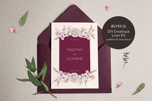 Phoenician Floral Wedding Invitation