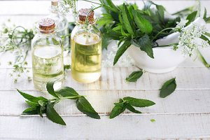 Bottles with aroma oil with mint