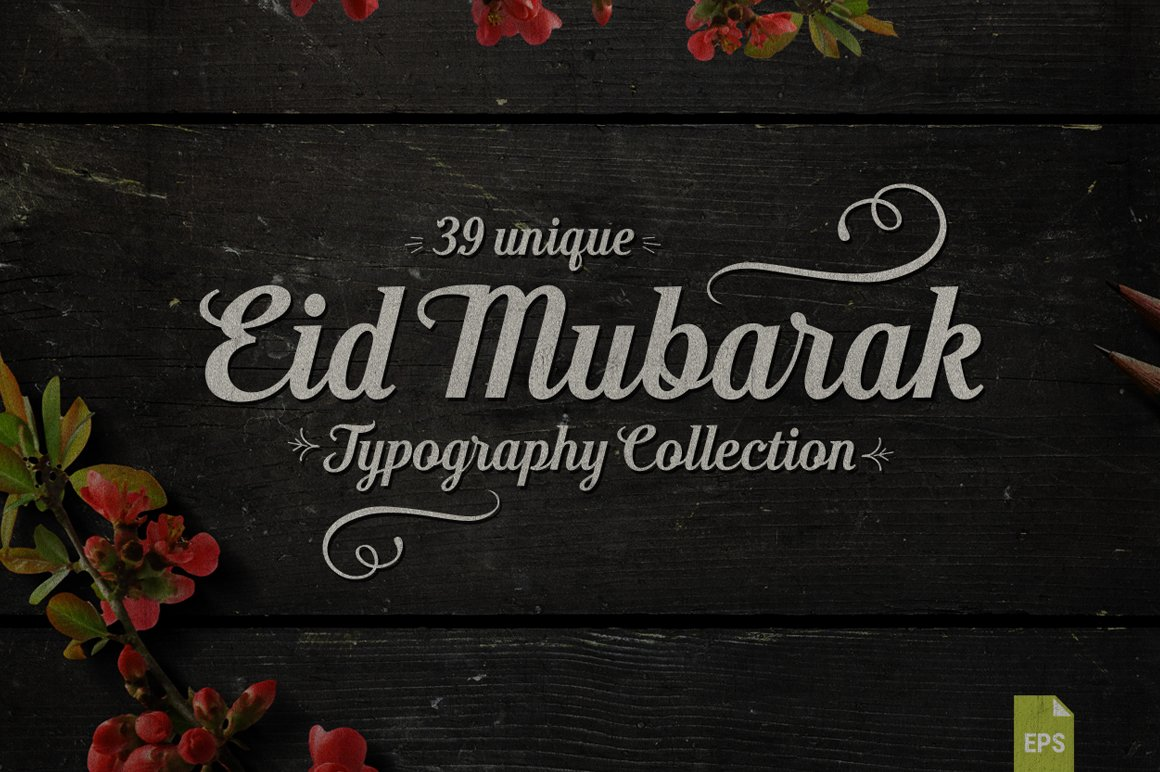 Eid Mubarak Typography Graphics Creative Market