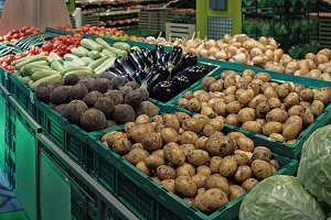 Vegetables in green plastic crates