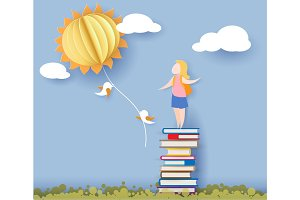 Back to school card with girl, books and sun