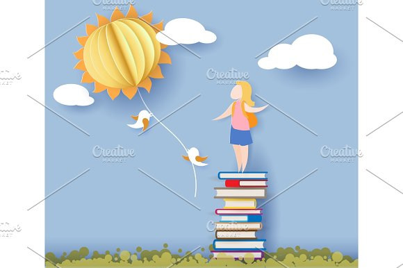 Back To School Card With Girl Books And Sun