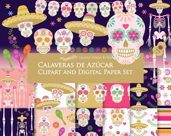 Sugar Skull Clipart Pattern Set