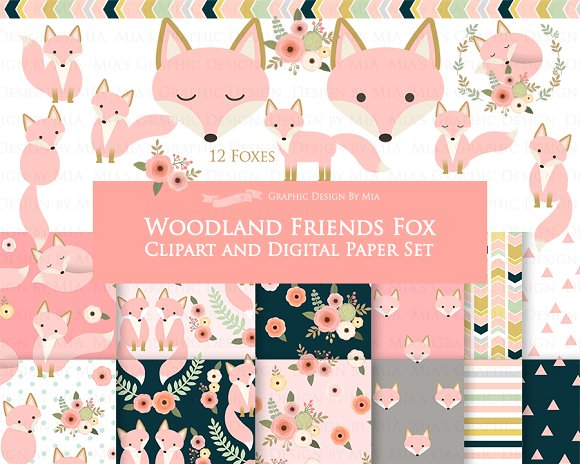 Pink Fox Clipart Pattern