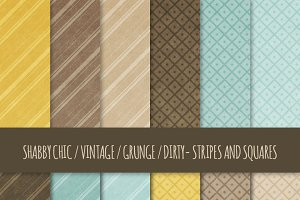Grunge Stripes and Squares Patterns