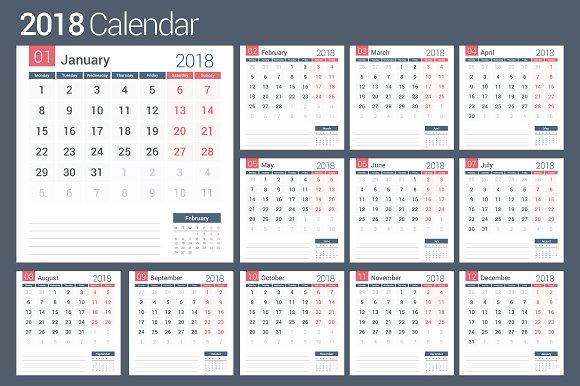 2018 Calendar And Planner