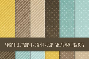 Grunge Polka Dots & Stripes Patterns