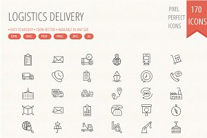Logistics Delivery line icons