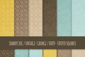 Grunge Striped Squares Patterns