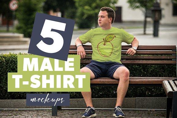 5 Male T-shirt Mockups