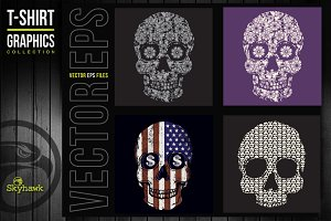 Vectors skull t-shirt graphics