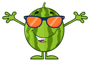 Green Watermelon With Sunglasses