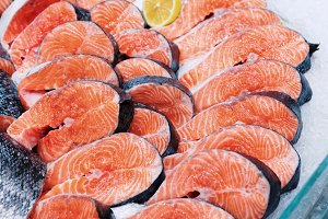 Fresh raw salmon chunks