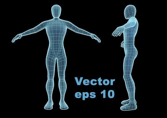 Wireframe Human Figure Like Hologram
