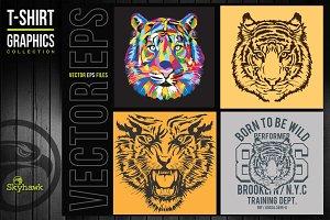 Vectors tiger t-shirt graphics
